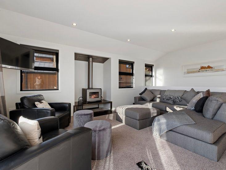 Lounge seating around fireplace