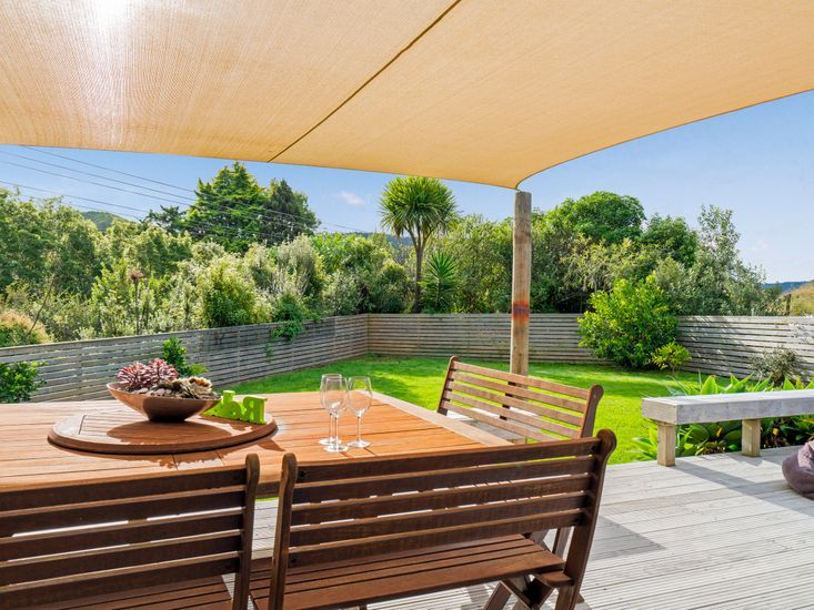 Shaded outdoor dining area