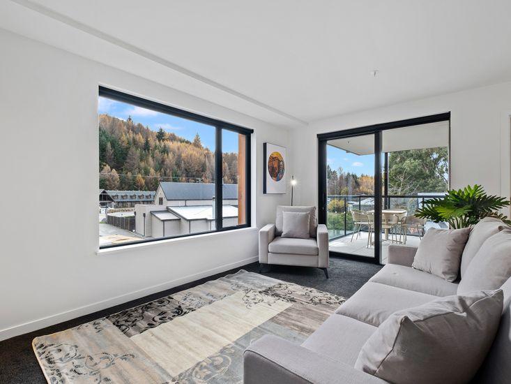 Lounge area opens onto balcony