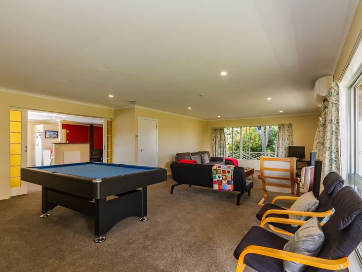 Pool table in the lounge room