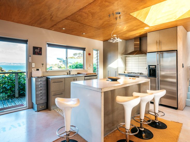 Kitchen and breakfast bar with a view