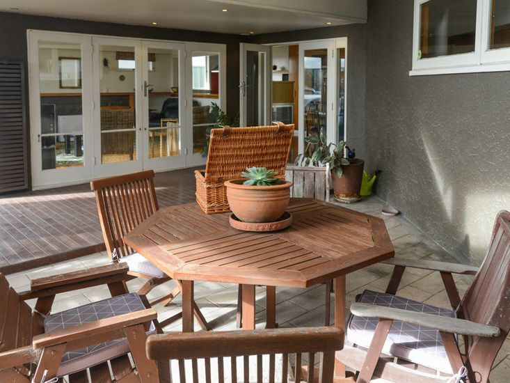Sheltered outdoor dining area