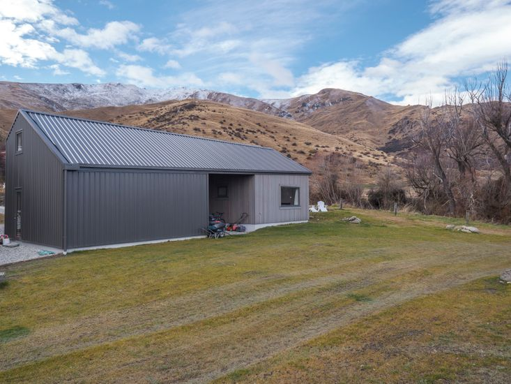 Studio and surrounding snowcapped mountains