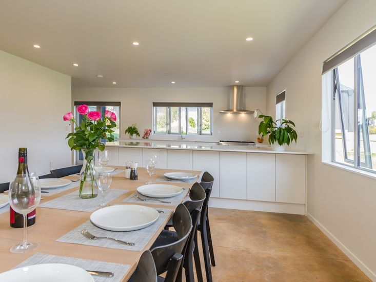 Large family dining table onto kitchen