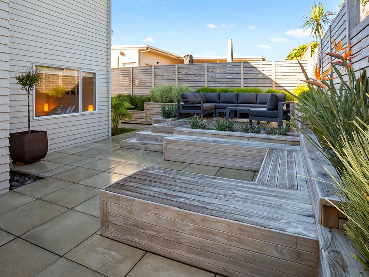 Back garden and outdoor living area