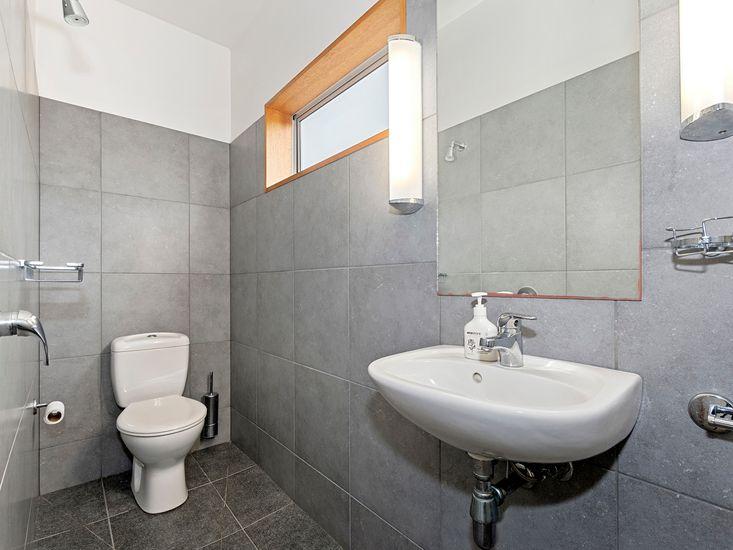 Converted garage studio bathroom