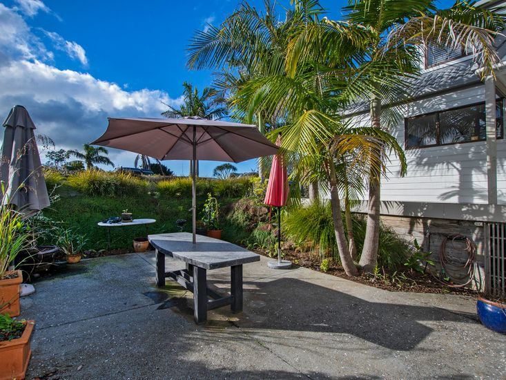 Paved outdoor dining area