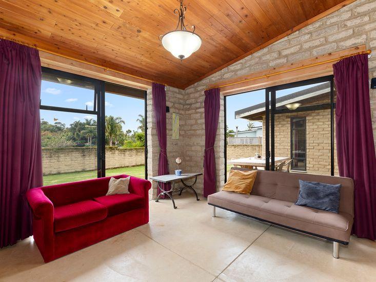 TV lounge opens onto patio