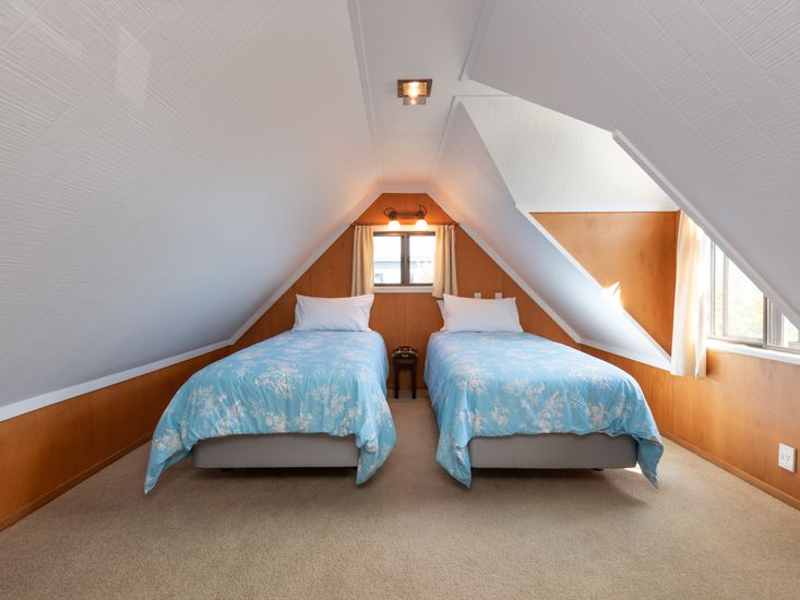 Two single beds in the loft space