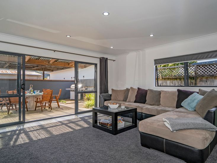 Lounge area opens out to the sheltered outdoor area