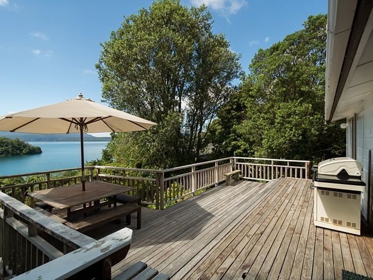 Stunning clear waters of Lake Tarawera from the sundeck
