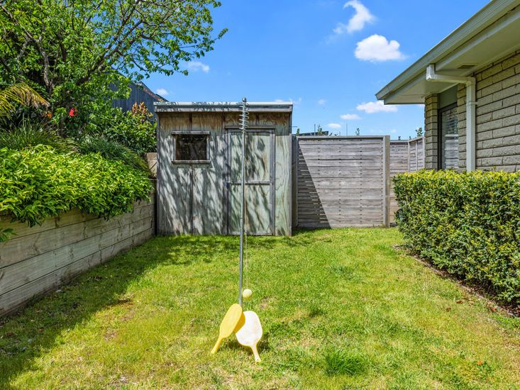 Swing ball set and access to outdoor shower